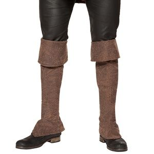 Costume Boot Cuffs Covers Tall Zipper Back Brown